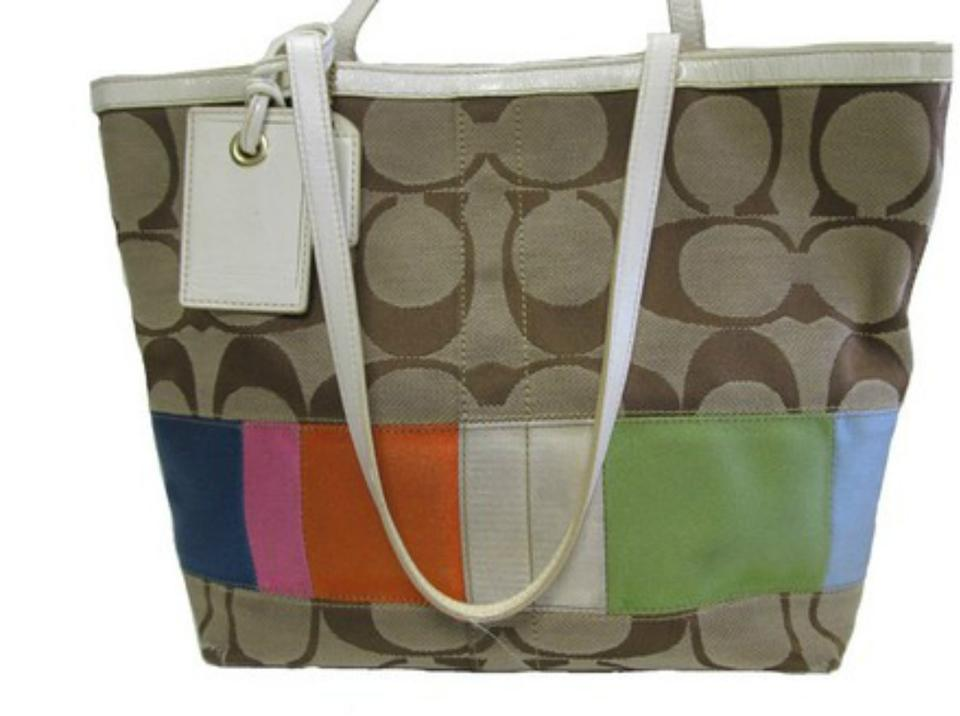 e3a48c080d0 Coach Signature Multicolor Stripe A0767 10859 Tan Multi Jacquard ...