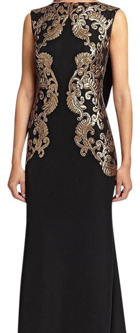 Item - Black/Gold Sequined Embellished Lace Evening Gown Long Formal Dress Size Petite 10 (M)