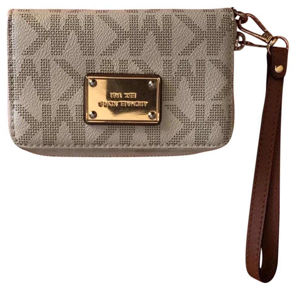 d876c586c58f Michael Kors Monogram Wallet White/Tan Leather Wristlet - Tradesy