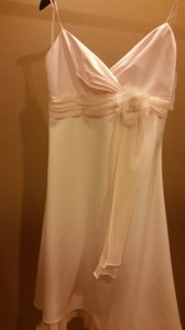 Blush Chiffon Destination Wedding Dress Size 8 (M)