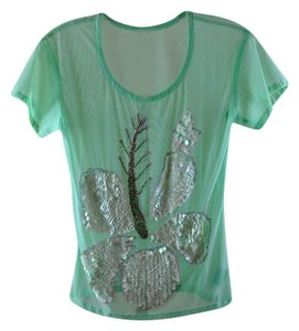 La Perla Sequin Mesh Cover Up T Shirt Blue Mesh