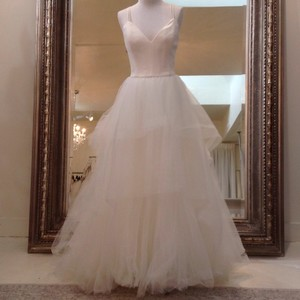 Amsale Ivory Tulle Mischa Traditional Wedding Dress Size 8 (M)
