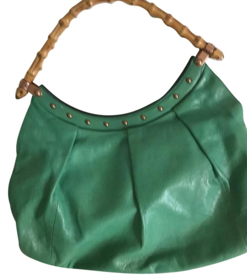 48a43543d2a Gucci With Bamboo Handles and Golf Hardware Green Leather Hobo Bag ...