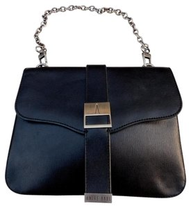 André Badi Leather Gun Metal Cross Body Bag