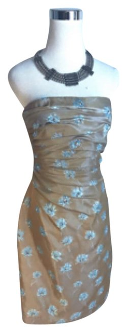 Item - Brown and Blue Strapless Silk Mid-length Short Casual Dress Size 6 (S)