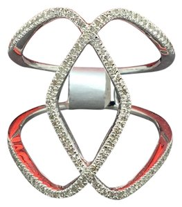 Other 14K White Gold Natural Genuine Diamond Wide Ring