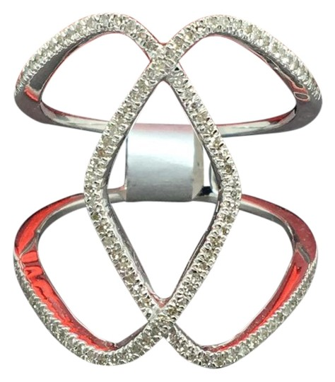 Other 14K White Gold Natural Genuine Diamond Wide Ring Image 0