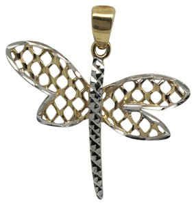 Other 14K Two-Tone Gold Diamond Cut Dragonfly Pendant