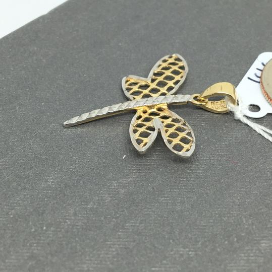 Other 14K Two-Tone Gold Diamond Cut Dragonfly Pendant Image 2