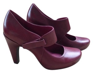 Tsubo Burgundy Red Leather Mary Janes Sangria Pumps