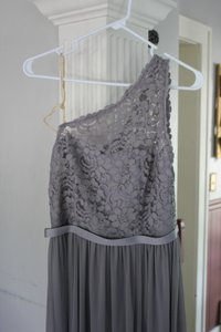 David's Bridal Grey Lace & Mesh Long One Shoulder Bridesmaid/Mob Dress Size 6 (S)