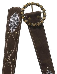 Other animal print brown suede leather belt with gold rusted buckle