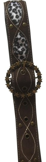 Other animal print brown suede leather belt with gold rusted buckle Image 2