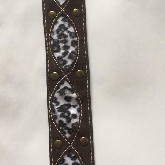 Other animal print brown suede leather belt with gold rusted buckle Image 4