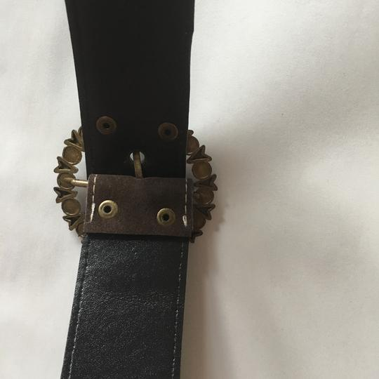 Other animal print brown suede leather belt with gold rusted buckle Image 5