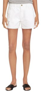 FRAME Distressed Jean High Rise Cuffed Shorts White