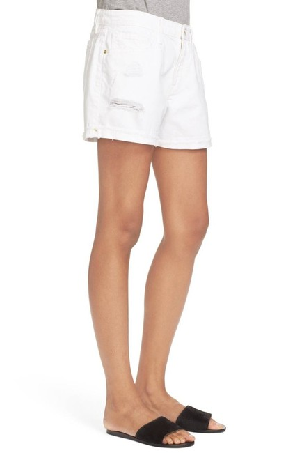 FRAME Distressed Jean High Rise Cuffed Shorts White Image 1
