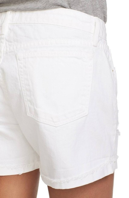 FRAME Distressed Jean High Rise Cuffed Shorts White Image 2