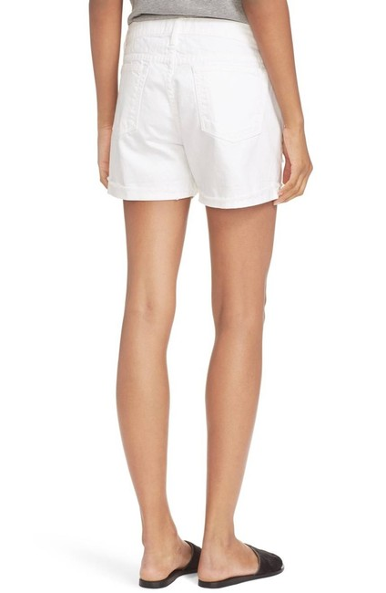 FRAME Distressed Jean High Rise Cuffed Shorts White Image 3