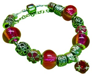 Genuine Murano Glass and Swarvoski Crystal Charm Bracelet Swarovski