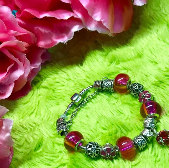 Genuine Murano Glass and Swarvoski Crystal Charm Bracelet Swarovski Image 3