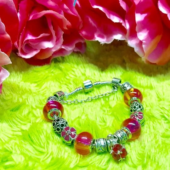 Genuine Murano Glass and Swarvoski Crystal Charm Bracelet Swarovski Image 4