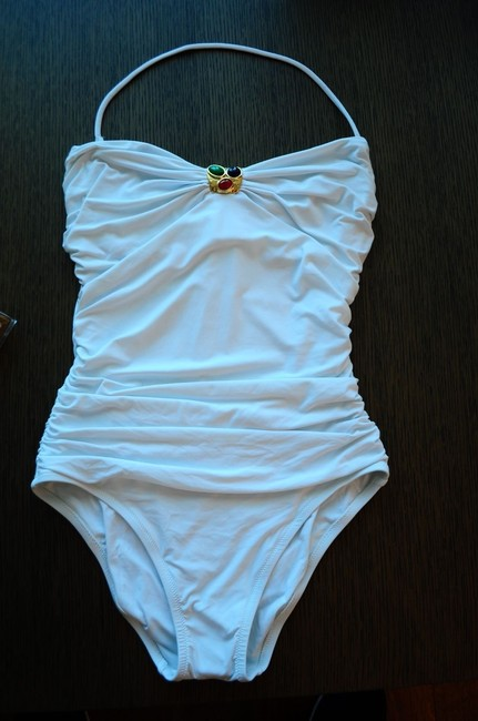 La Perla La Perla One Peace Underwire Embellished White Swimsuit size 46.