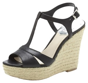 Vince Camuto Leather Spring Ankle Strap Black Wedges