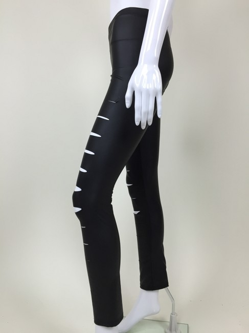 Peces Faux Leather Slashed Pants black Leggings Image 1