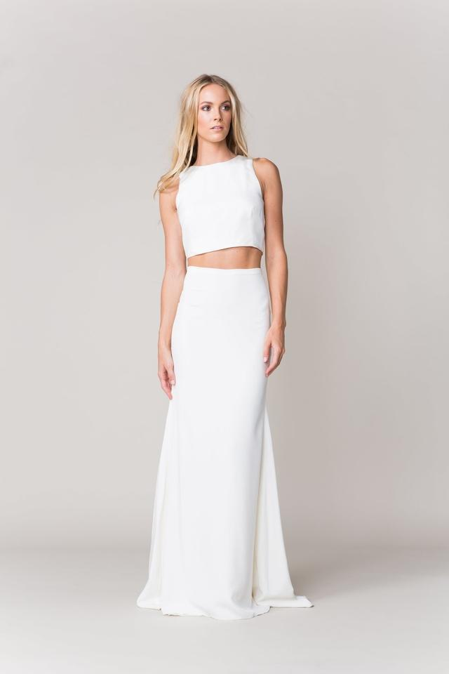 Sarah Seven Ivory Crepe Rennes Top Casual Wedding Dress Size 2 Xs