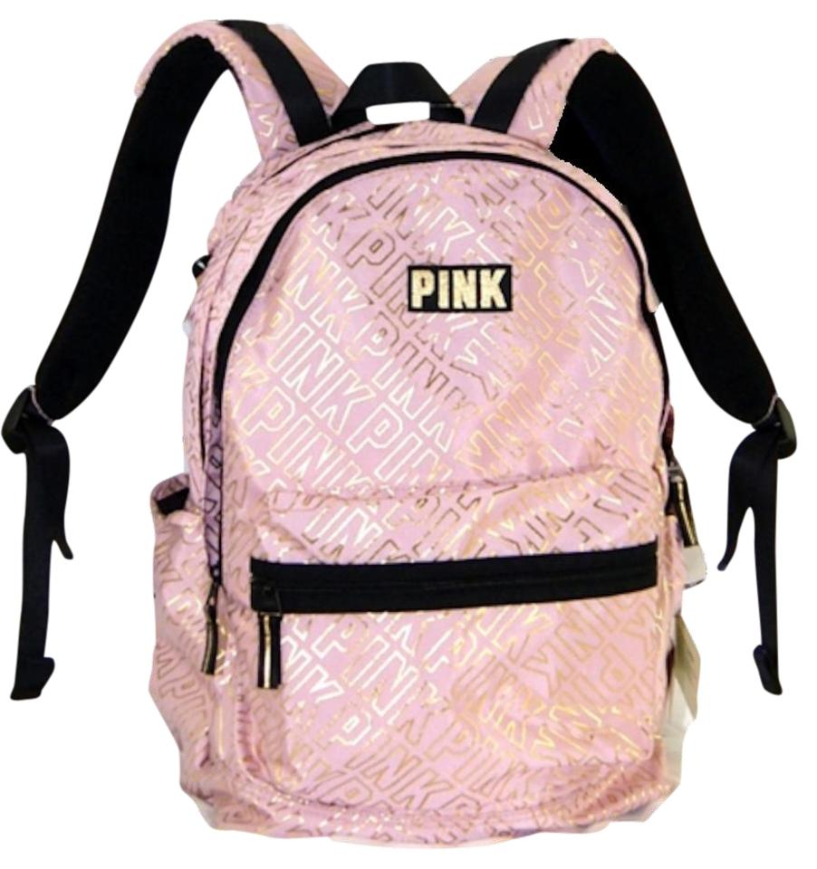How To Make A Book Cover Out Of A Victoria S Secret Bag ~ Victorias secret metallic gold logo campus laptop pink backpack