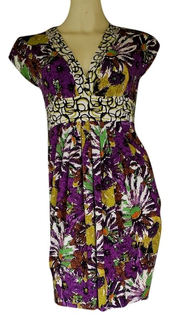 Preload https://img-static.tradesy.com/item/2208064/ali-ro-multi-colored-new-purple-green-print-stretch-floral-above-knee-short-casual-dress-size-0-xs-0-0-650-650.jpg