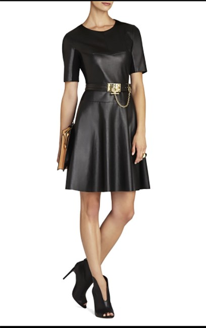 BCBGMAXAZRIA short dress black A-line Faux Leather Bcbg on Tradesy Image 2