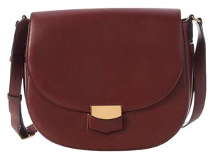 Céline Leather Burgundy Gold Hardwear Ce.l0810.11 Saddle Shoulder Bag