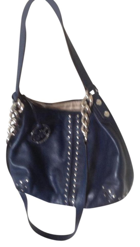 31e14d260067 Michael Kors Handbag Navy Blue Leather Shoulder Bag - Tradesy