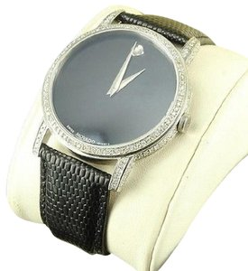 Movado Movado Diamond Watch Men White Gold Finish Leather Band Swiss His