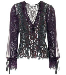 self-portrait Lace Silk Chiffon Ribbon Lace Top purple, green, black