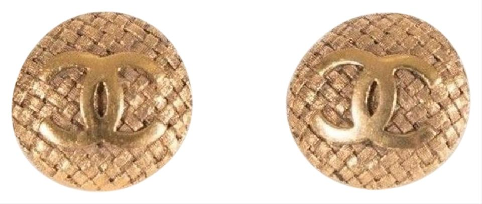 Chanel Vintage Clip On Earrings 29c Gold Plated Cc Logo Basket Weave