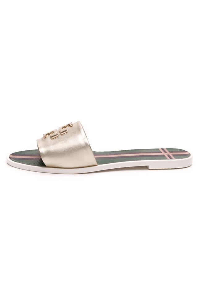 663c28ce667 Tory Burch Gold Leather Logo Metallic Jelly Slide Sandals Flats Size ...