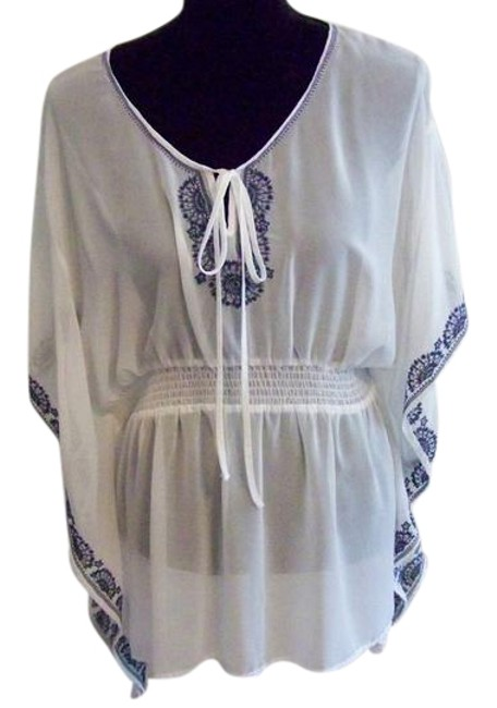Item - White/Navy Blue Embroidered Keyhole Bell Sleeves Blouse Size 16 (XL, Plus 0x)
