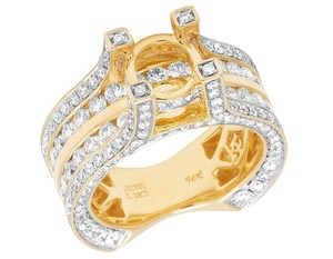 Jewelry Unlimited Real 14K Yellow Gold Diamond 3D Semi Mount Engagement Ring 3.40 CT 9MM