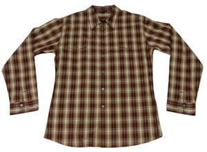 James Perse Givenchy Valentino Gucci Versace Monogram Button Down Shirt Brown