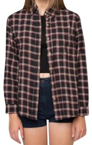 Brandy Melville Flannel Button Down Shirt Black and Red