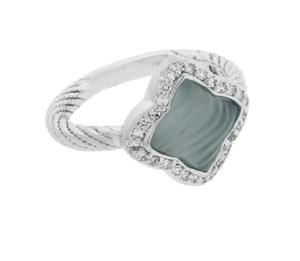 David Yurman David Yurman 18k white gold Quatrefoil diamond & blue chalcedony ring