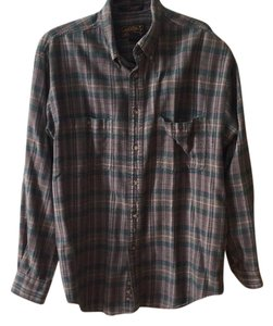 Brandy Melville Flannel Vintage Button Down Shirt green
