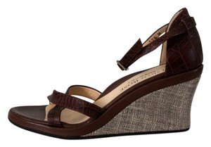 Taryn Rose Leather Linen Open Toe Brown Wedges