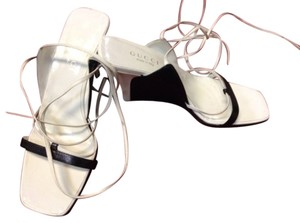 Gucci Leather Wedge White&Black Wedges