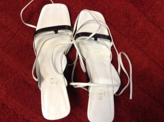 Gucci Leather Ankle Strap Ankle Wrap White&Black Wedges