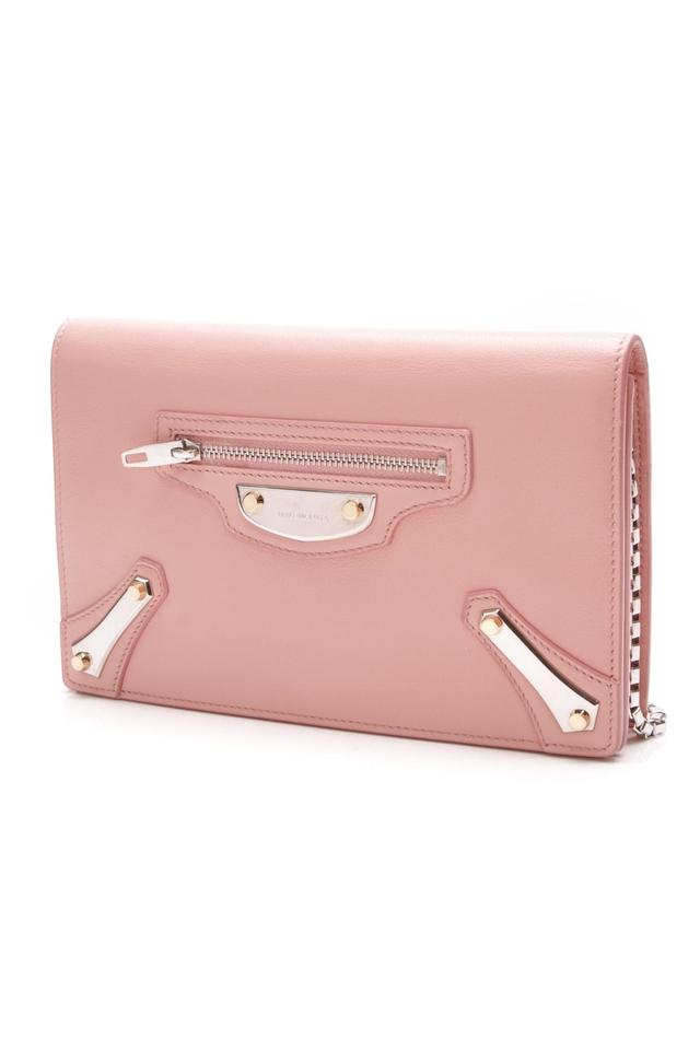 331aff3cfe Balenciaga Rose Metal Plate City Chain Wallet Pink Leather Cross Body Bag