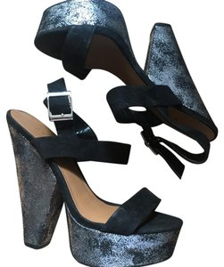 Nasty Gal black and silver Platforms